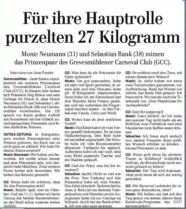 Zeitungsartikel groß Prinzenpaar-1