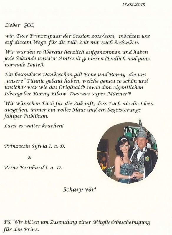 Brief Prinzenpaar